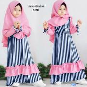 Gamis strip kids pink