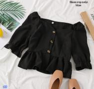 Blouse crop evelyn hitam