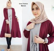 Dress twotone maroon