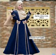 Gamis ribbon kids navy
