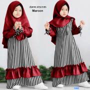 Gamis strip kids maroon