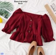 Blouse crop evelyn maroon