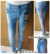 Celana jeans off white lis red