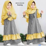 Gamis strip kids kuning