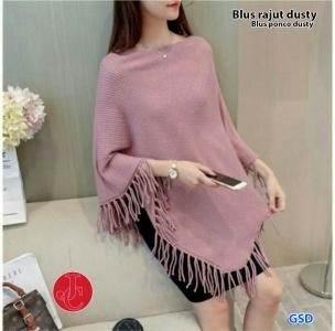 Blus rajut dusty-blus ponco dusty