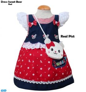 Dress Sweet Bear red