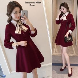 Dress amelia ribbon maroon