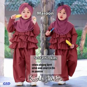 Set fathin kids maroon-set tahtin