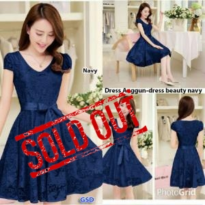 Anggun dress-dress beauty  navy